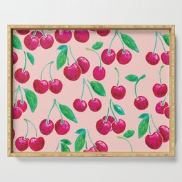 Watercolour Cherries | Peach Background Serving Tray