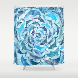 Water color dolphins Shower Curtain
