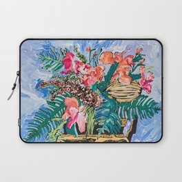 Tropical Banksia Bouquet after Matisse in Greek Boar Urn on Pale Painterly Blue Laptop Sleeve