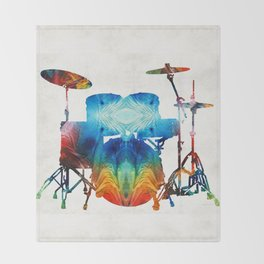 Drum Set Art - Color Fusion Drums - By Sharon Cummings Throw Blanket