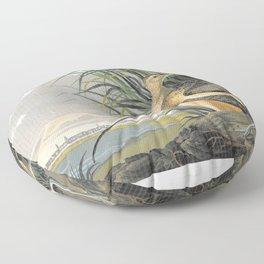 Long-billed Curlew - John James Audubon Floor Pillow