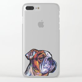 Fun English Bulldog Dog Portrait bright colorful Pop Art Painting by LEA Clear iPhone Case