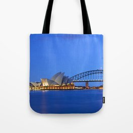 Harbour Bridge and Sydney skyline, Australia at dawn Tote Bag
