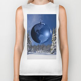 Beautful blue christmas ornaments Biker Tank