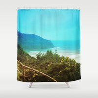 chile Shower Curtains featuring Al sur de Chile II by Viviana Gonzalez