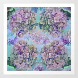 Watercolor hydrangeas and leaves Art Print