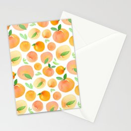 Watercolor Peach Pattern Stationery Cards