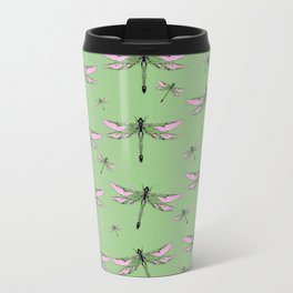 Rose Wing Swamp Dragonflies Green Jade Color Art design Travel Mug