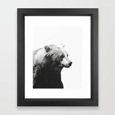 Bear // Calm (Black + White) Framed Art Print