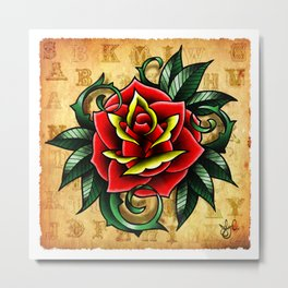 The Tattoo Rose Metal Print