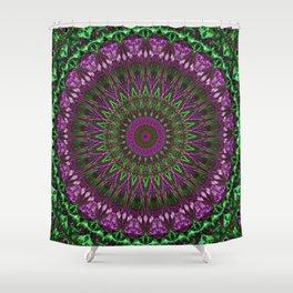 Vivid pink and green mandala Shower Curtain