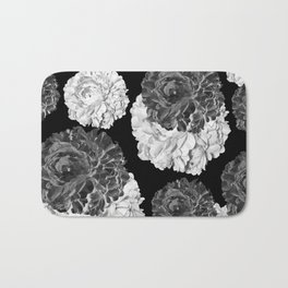 CABBAGE ROSES BLACK AND WHITE Bath Mat