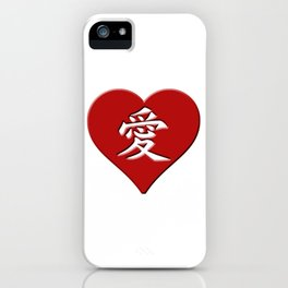 LOVE written in Japanese Kanji Style Script in a Heart iPhone Case