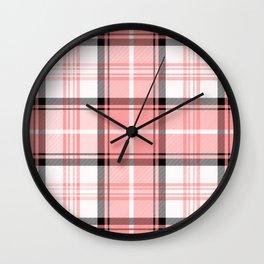 Pink Tartan Wall Clock