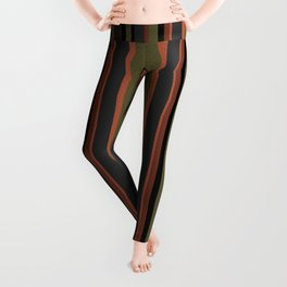 Multi-colored striped pattern in green , black and brown tones . Leggings