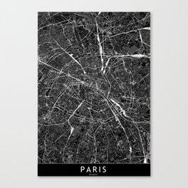 Paris Black Map Canvas Print