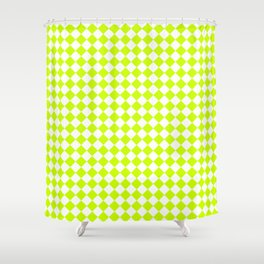 Small Diamonds - White and Fluorescent Yellow Shower Curtain
