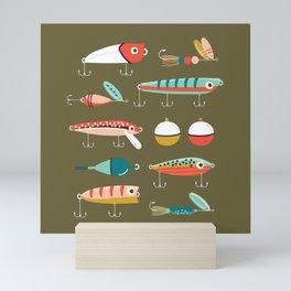 Fishing Lures Green Mini Art Print