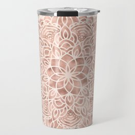 Mandala Seashell Rose Gold Coral Pink Travel Mug