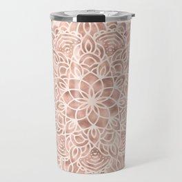 Mandala Seashell Rose Gold Coral Pink Travel Mug
