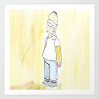 simpson Art Prints featuring Homer simpson by J Styles Designs