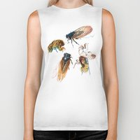 line Biker Tanks featuring summer cicadas by Teagan White