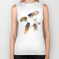 floral Biker Tanks featuring summer cicadas by Teagan White