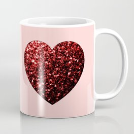 Red Glitter sparkles Heart Coffee Mug