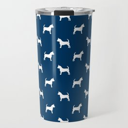 Chihuahua silhouette navy and white pet pattern dog pattern minimal chihuahuas Travel Mug