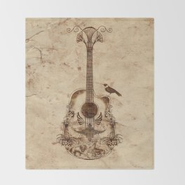 The Guitar's Song Throw Blanket