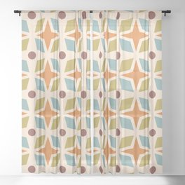 Mid Century Modern Abstract Star Dot Pattern 441 Orange Brown Blue Olive Green Sheer Curtain