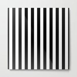 Midnight Black and White Vertical Beach Hut Stripes Metal Print