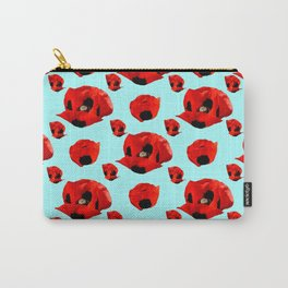 Poppies 5 with Turquoise Background Carry-All Pouch