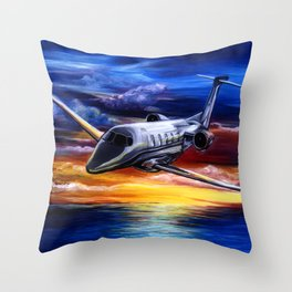 Cessna Citation Jet Airplane Sunset Painting Sonya Allen Throw Pillow