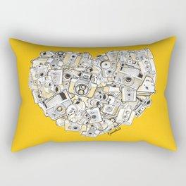 Camera Heart - on yellow Rectangular Pillow