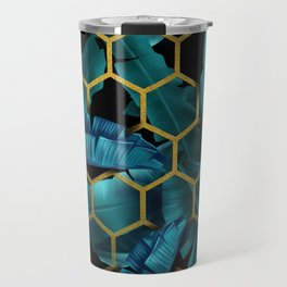 tropical banana leaves geometry Travel Mug