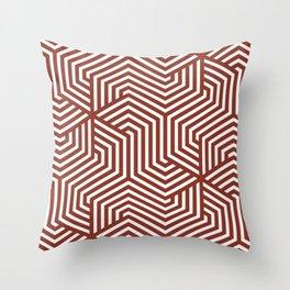 Burnt umber - red - Minimal Vector Seamless Pattern Throw Pillow