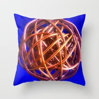 the wire Throw Pillows featuring Wire Ball by Brian Raggatt