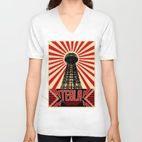 tesla V-neck T-shirts featuring Tesla by Octavia Soldani