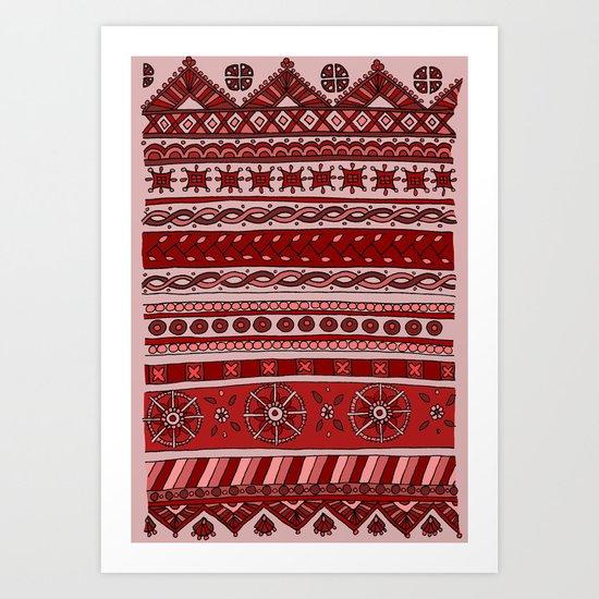 Yzor pattern 005 red Art Print