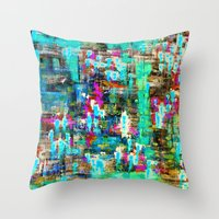 boyfriend Throw Pillows featuring BOYFRIEND SWEATS -2- by Glint & Lime Art
