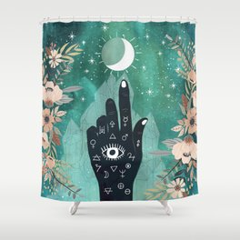 Alchemy hand and moon Shower Curtain