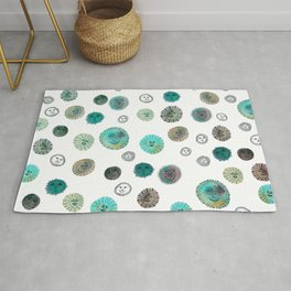 Whimsical Happy Suns Watercolor Pattern Teal Rug