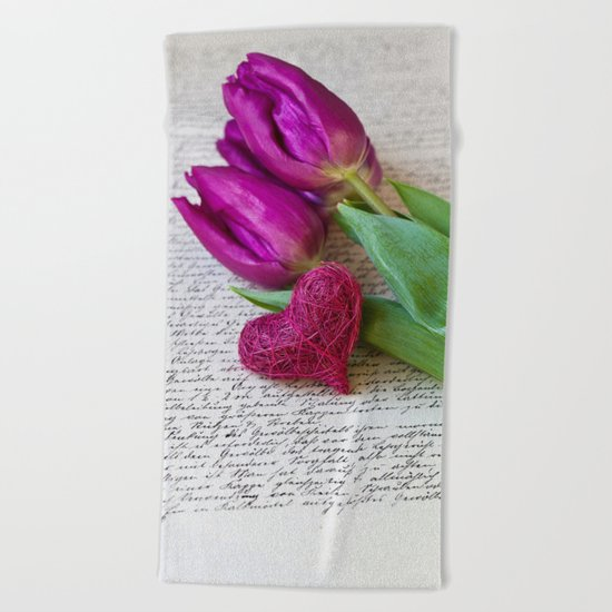 pink spring Tulips with heart Beach Towel