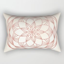 Mandala Bud Rose Gold on Cream Rectangular Pillow