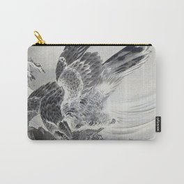 12,000pixel-500dpi - Kawanabe Kyosai - Eagle Attacking Fish - Digital Remastered Edition Carry-All Pouch