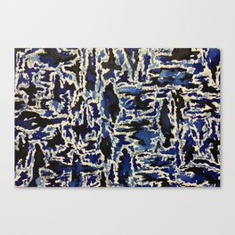 Black & Blue Water Color Canvas Print