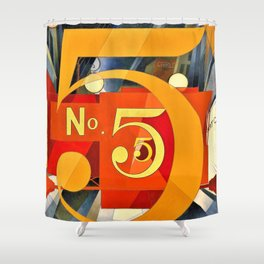 12,000pixel-500dpi - Charles Demuth - I Saw the Figure 5 in Gold - Digital Remastered Edition Shower Curtain