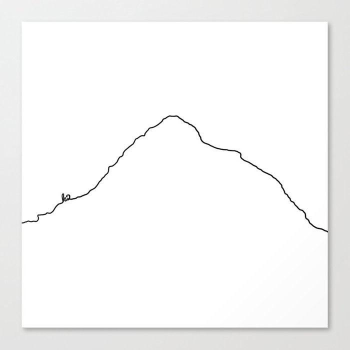 K2 Art Print / White Background Black Line Minimalist Mountain Sketch Leinwanddruck