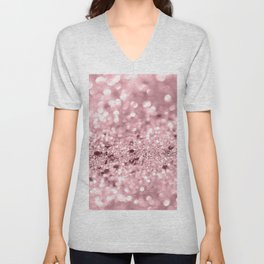 Rose Gold Blush Girls Glitter #1 #shiny #decor #art #society6 Unisex V-Neck